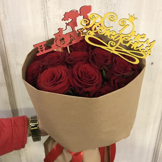 мини букет из красных роз