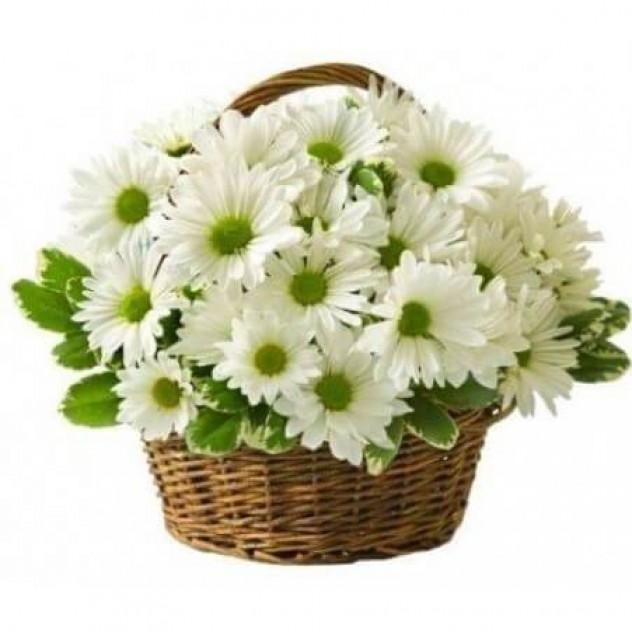 """Корзина цветов """"Белое облако"""""""