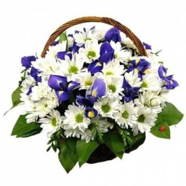"""Корзина цветов """"Ромашки и ирисы"""""""